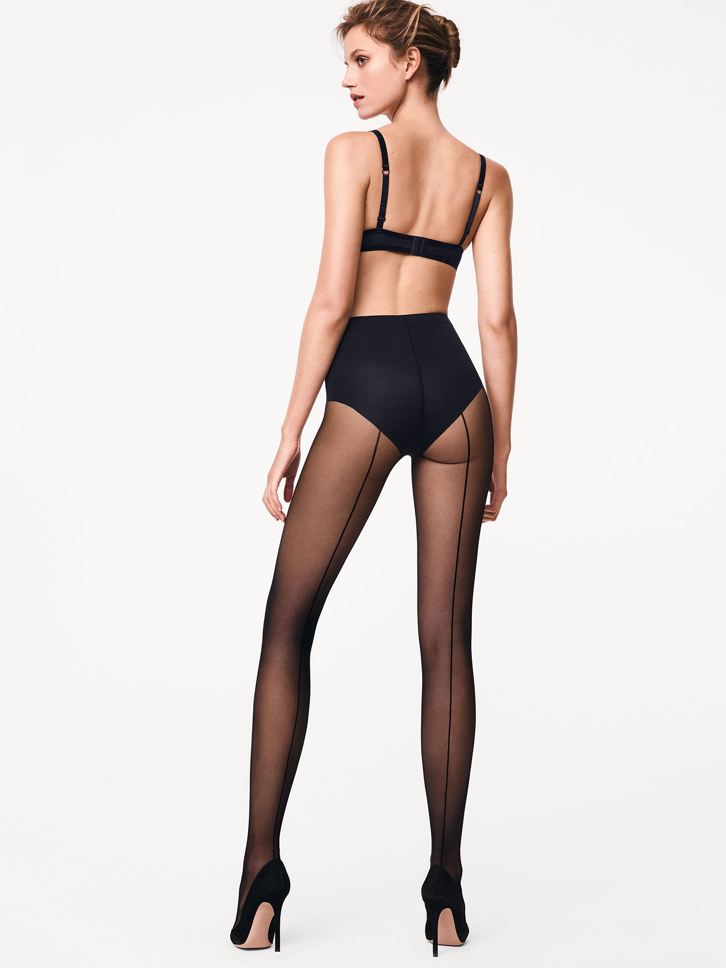 Individual 10 control top back seam tights